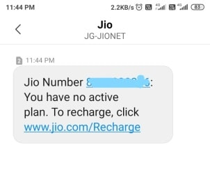 no active jio plan balance