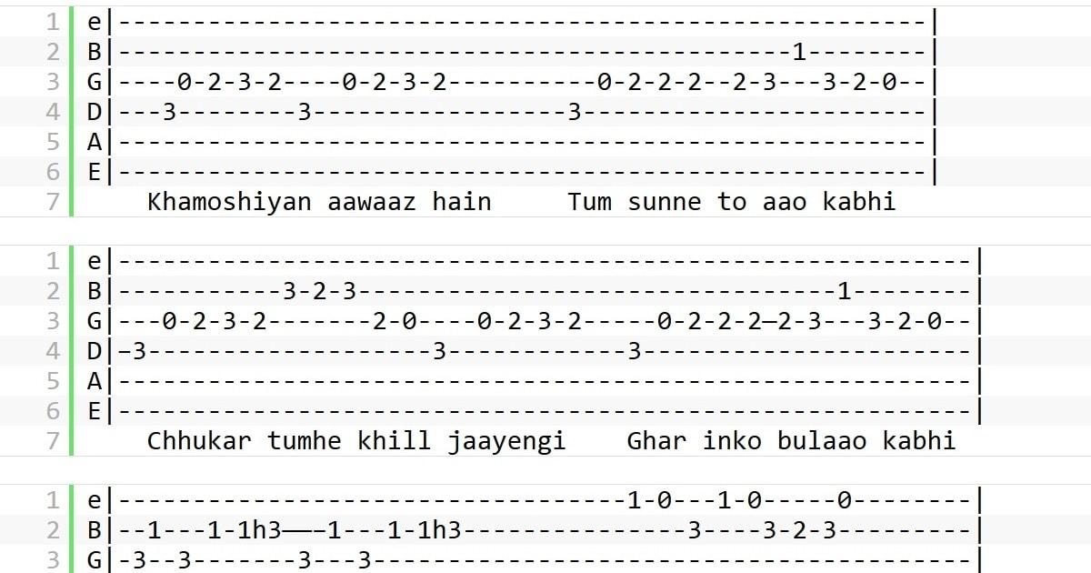 Khamoshiyan Guitar Tabs Arijit Singh Guitarutha